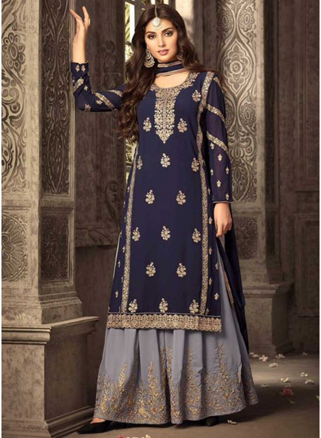 Navy Blue N Grey Embroidery Work Georgette With Patiala Designer Salwar Kameez
