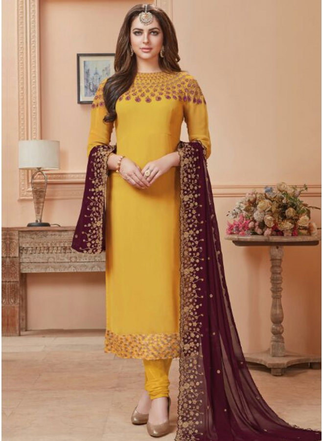 Gold N Wine Embroidery Work Georgette Fabric Designer Salwar Kameez