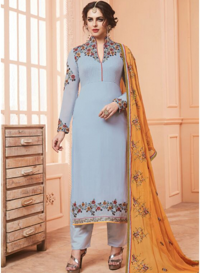 Grey Colour Embroidery Work N Georgette Fabric Designer Party Wear Salwar Kameez