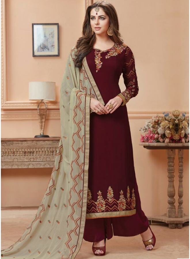 Maroon Colour embroidery Work Georgette Fabric Designer Party Wear Salwar Kameez