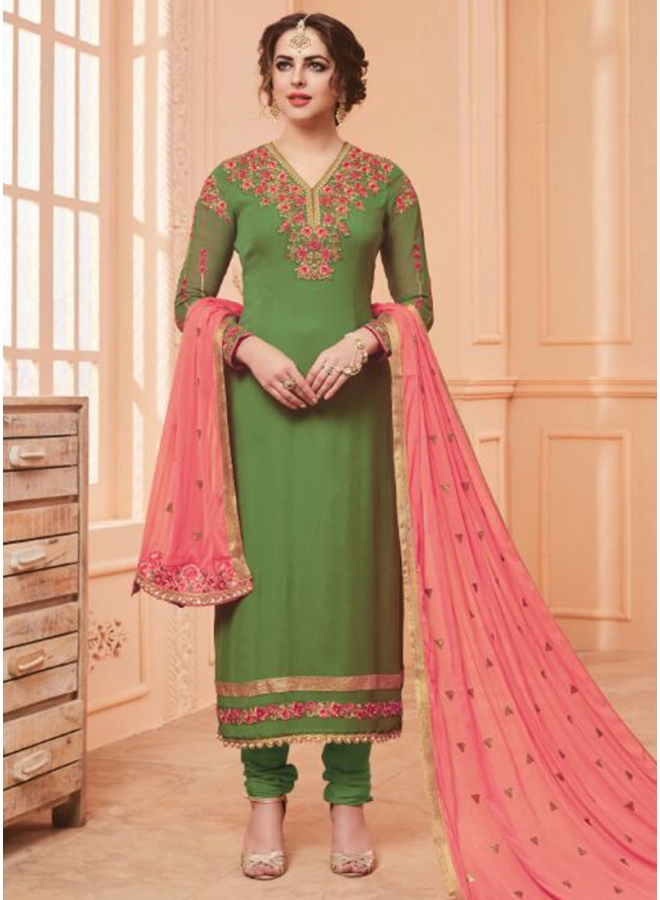 Sea Green Colour Embroidery Work Georgette Fabric Designer Function Wear Salawar Kameez