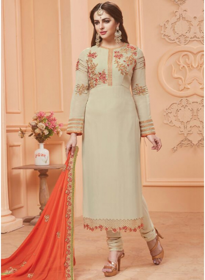 Off White Embroidery Work Georgette Fabric Designer Salwar Kameez