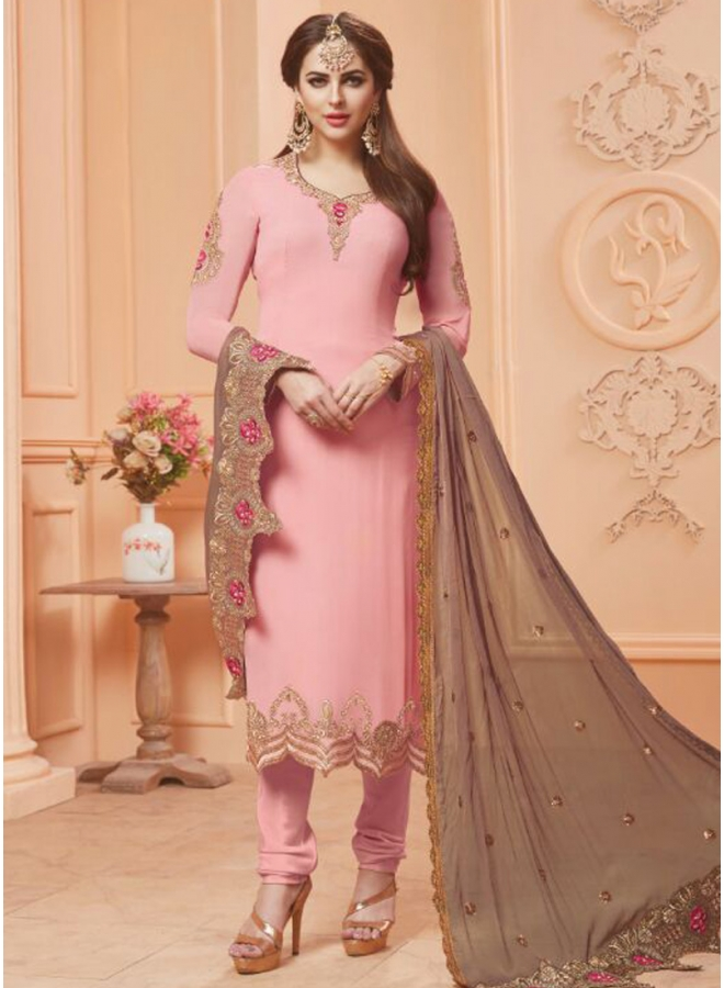 Pink Colour Embroidery Work Georgette Fabric Function Wear Salwar Kameez