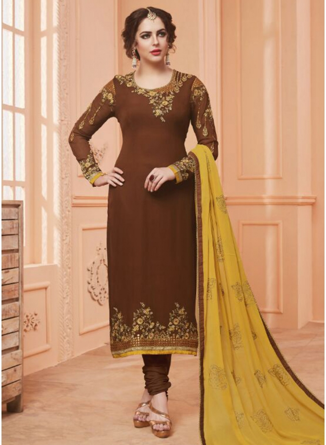 Brown Colour Embroidery Work Georgette Fabric Designer Salwar Kameez