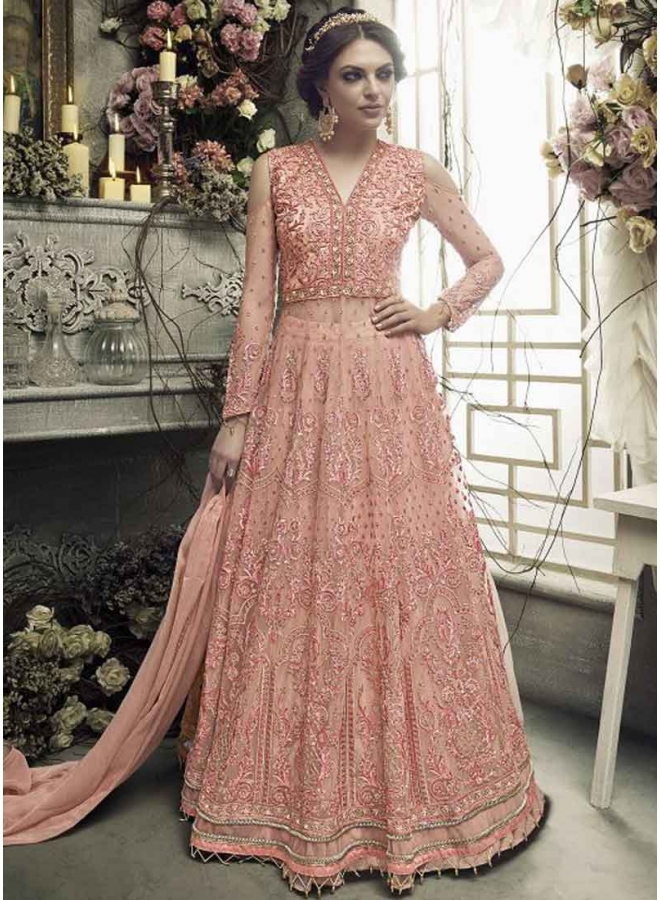 Pink Colour Heavy Embroidery Multi Work Heavy Rasal Net Designer Salwar Kameez
