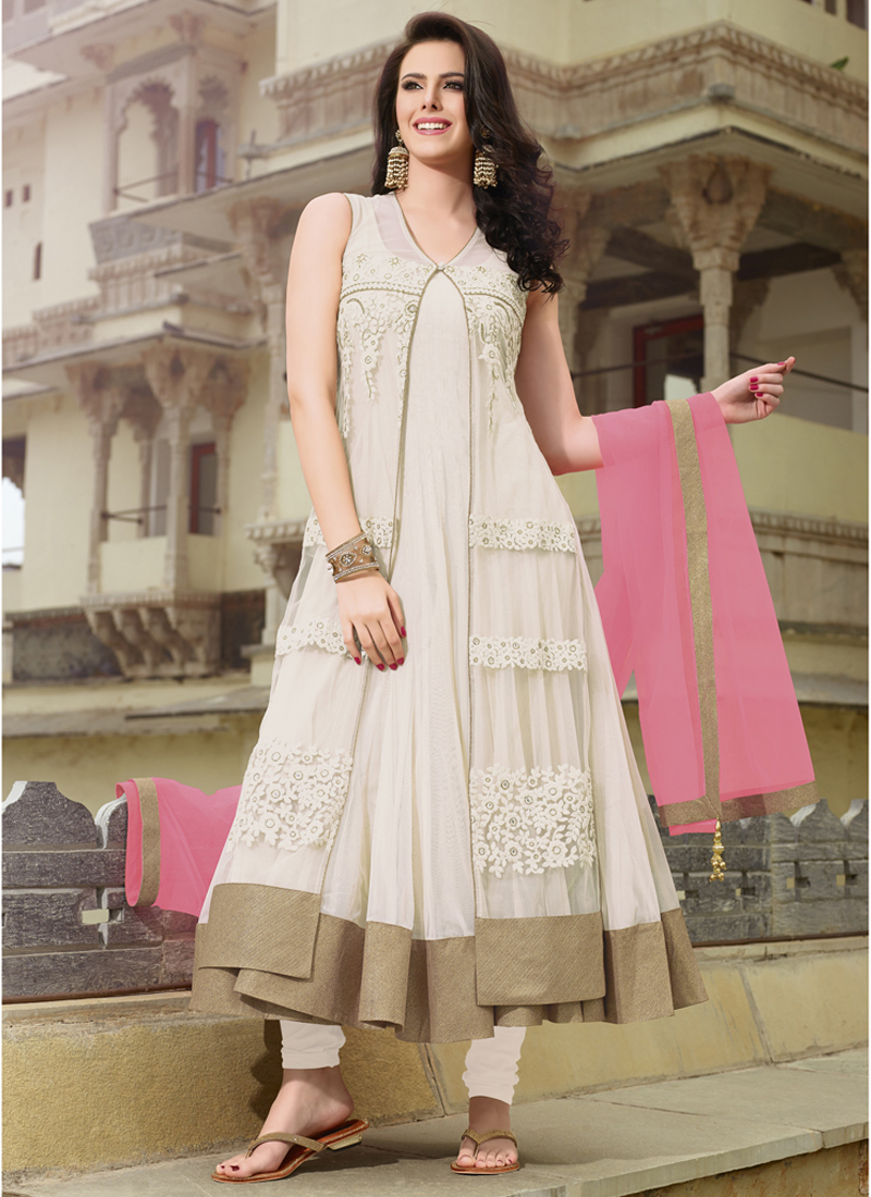 974b0ea607 Amazing Off White With Pink Net Designer Anarkali Suit