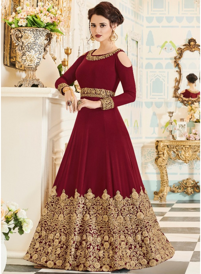 Beautiful Maroon Embroidery Sequins Butta Work Velvet Anarkali Suit