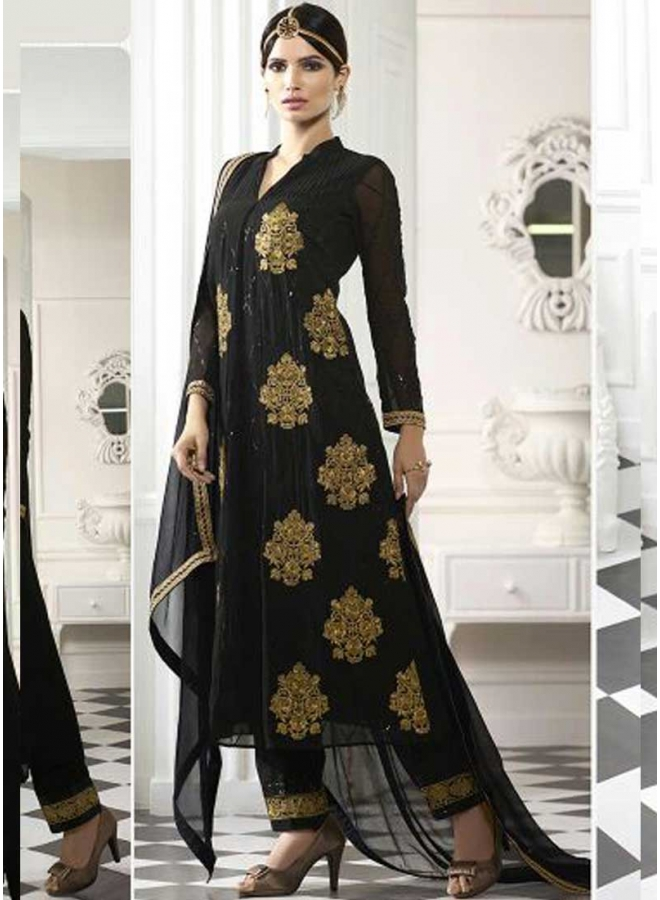 Black embroidery patch work stone georgette party