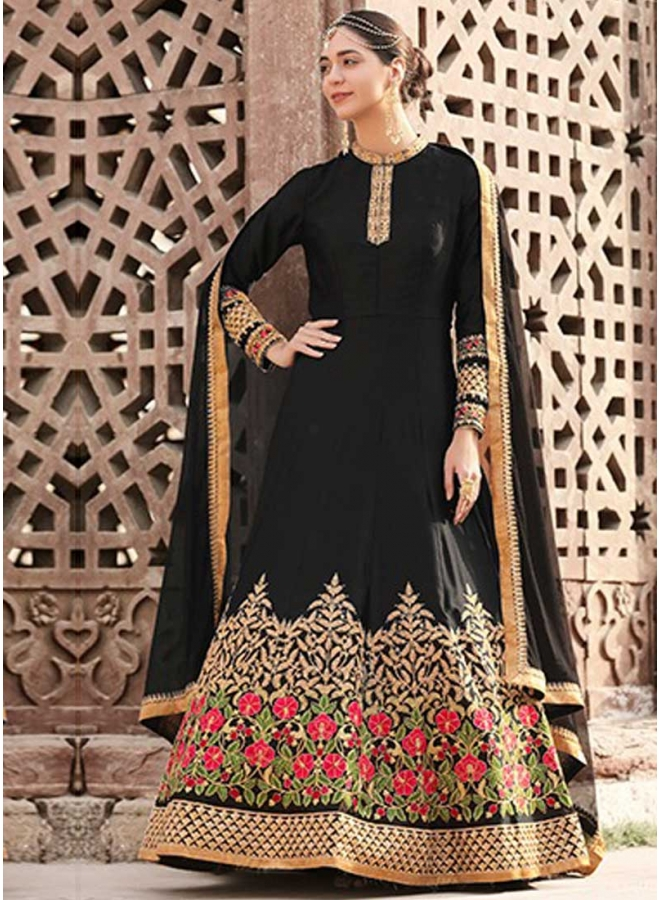 Black Embroidery Thread Work Crepe Fabric Party Wear Analkali Suit