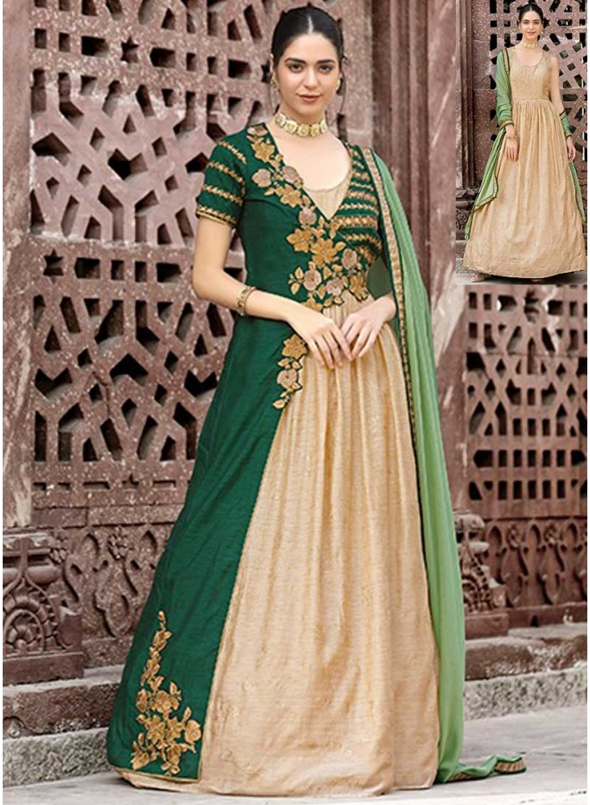 Green Embroidery Jacket Style Fancy Wedding Wear Analkali Suit