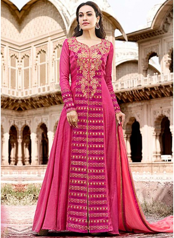 Hot Pink Embroidery Thread Work Santoon Fabric Party Wear Analkali Suit