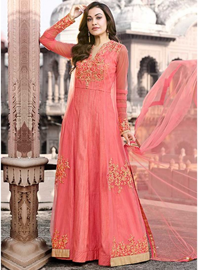 Tomato Red Embroidery Work Soft Net Fabric Wedding Wear Analkali Suit