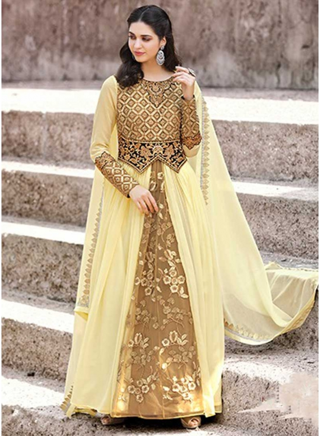 Yellow Brown Embroidery Work Faux Georgette Wedding Wear Analkali Suit