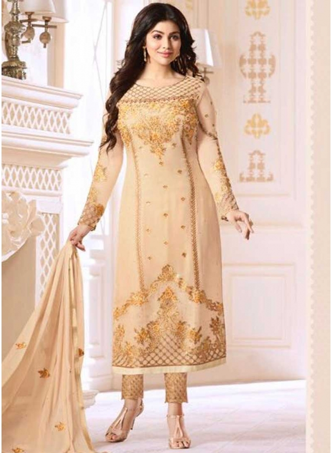 Ayesha Takia Cream Embroidery Heavy Sequins Work Nazmin Party Wear Pakistani Salwar Suit