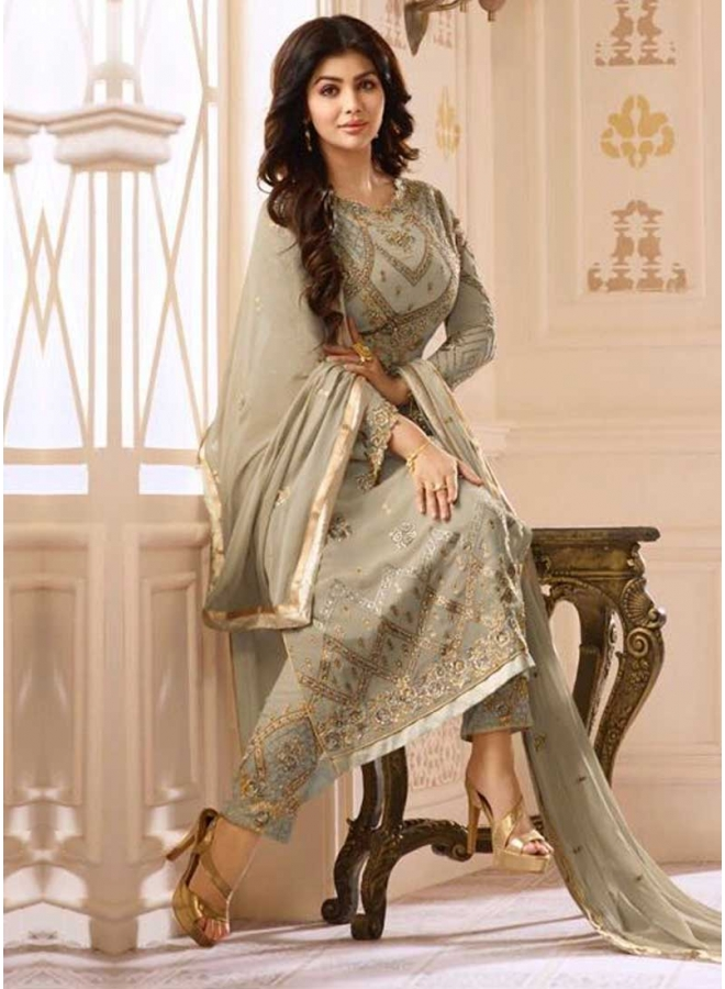 Ayesha Takia Grey Embroidery Resham Work Georgette Designer Party Wear Pakistani Suit