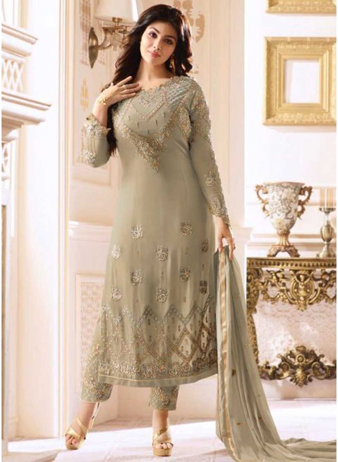 Ayesha Takia Grey Embroidery Thread Work Georgette Wedding Wear Pakistani Salwar Kameez
