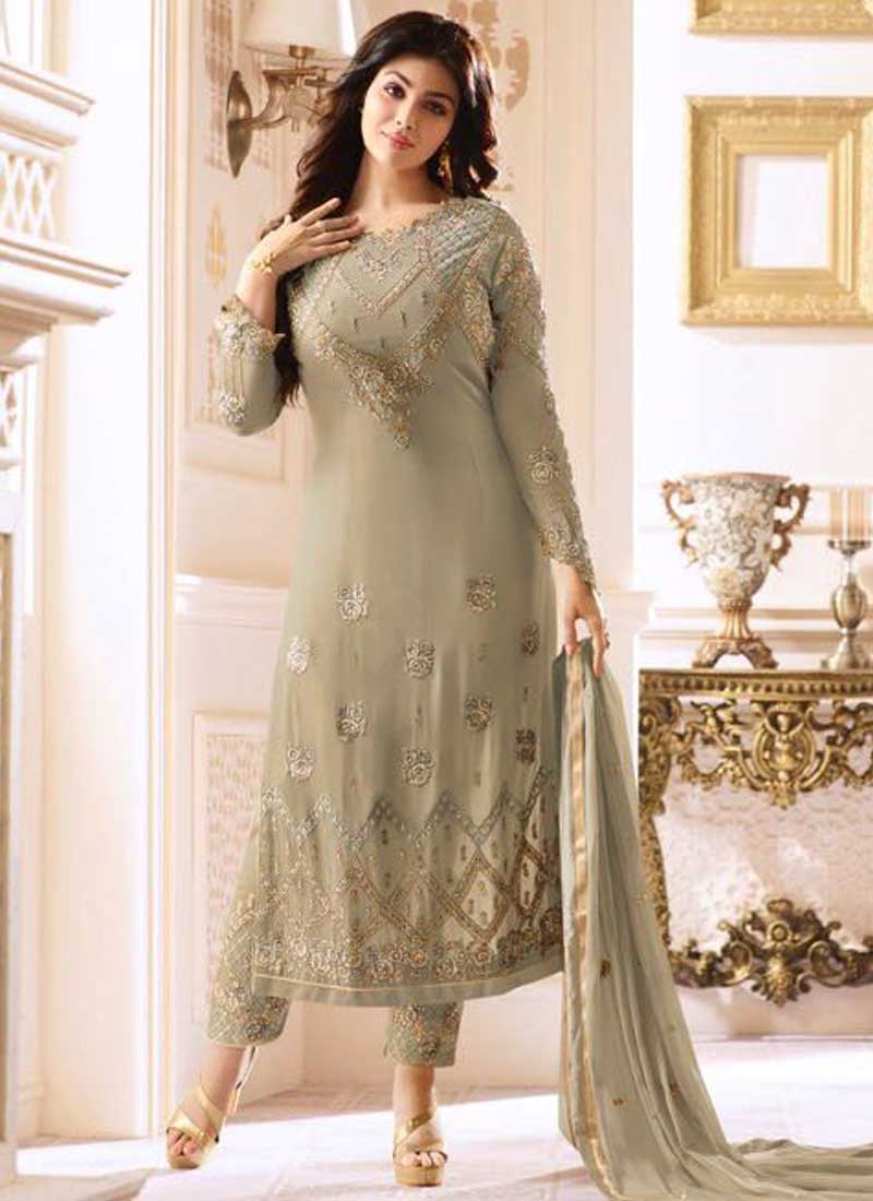 e799cc37ed Ayesha Takia Grey Embroidery Thread Work Georgette Wedding Wear Pakistani  Salwar Kameez