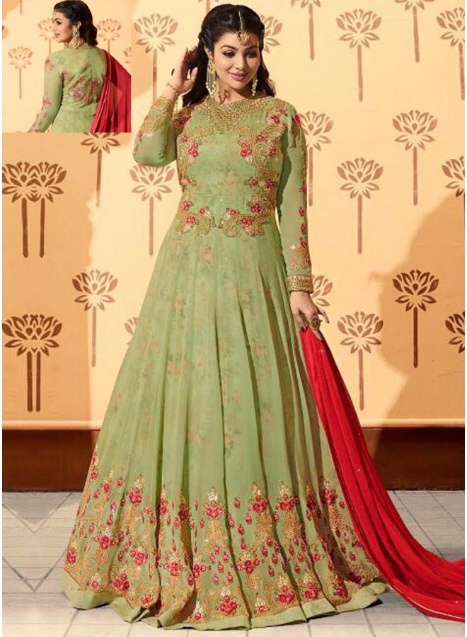Ayesha Takia Sea Green Embroidery Work Georgette Designer Salwar Kameez
