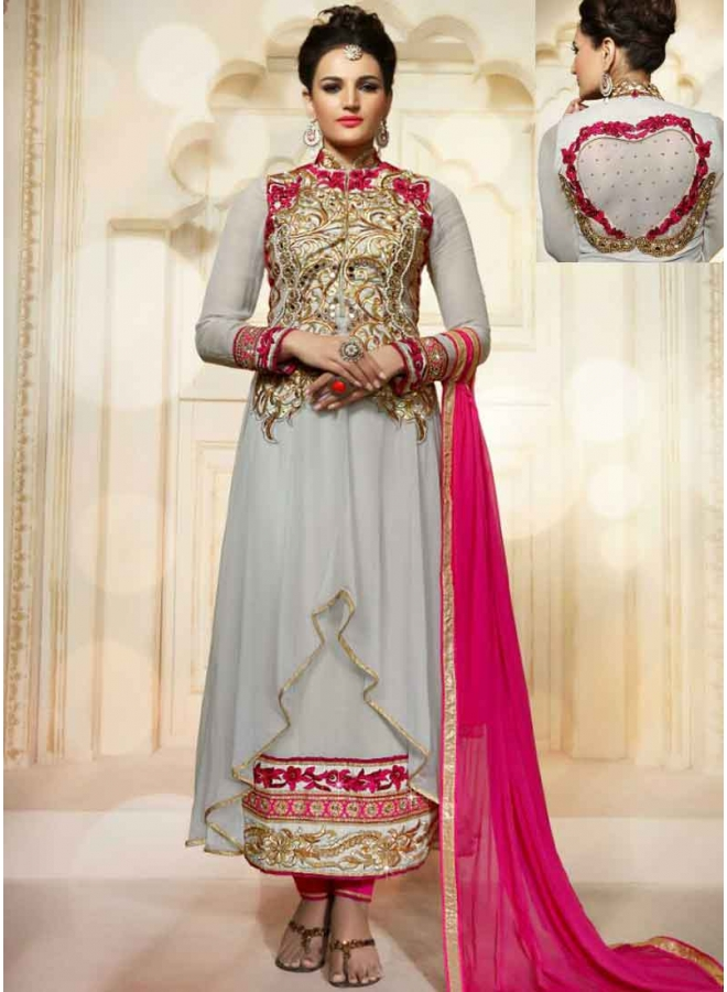 Graceful Grey Magenta Embroidery Mirror Work Georgette Anarkali Suit.Anarkali Suits Online In India.