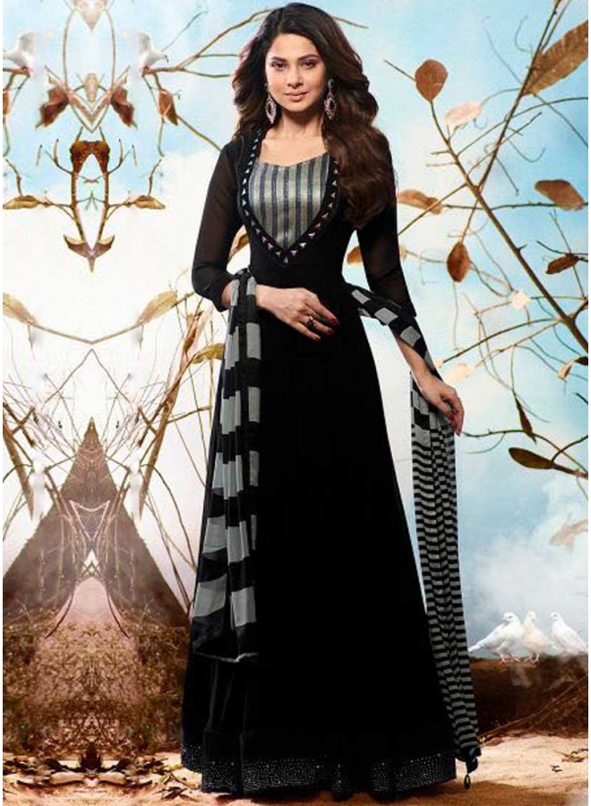 Jenifer Black Hand Embroidery Work Banglori Silk Wedding Anarkali Suit