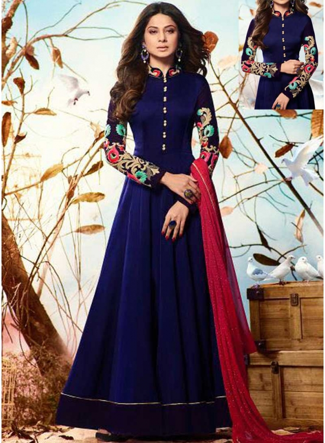 Jenifer Blue Embroidery Resham Work Georgette Party Wear Anarkali Suit