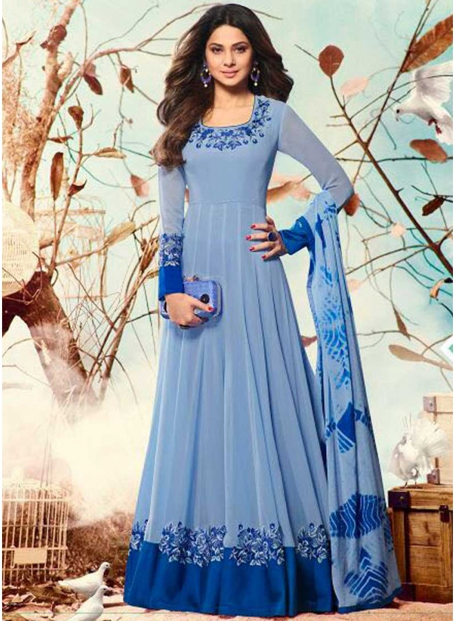 Jenifer Light Blue Embroidery Resham Work Georgette Designer Wedding Suit