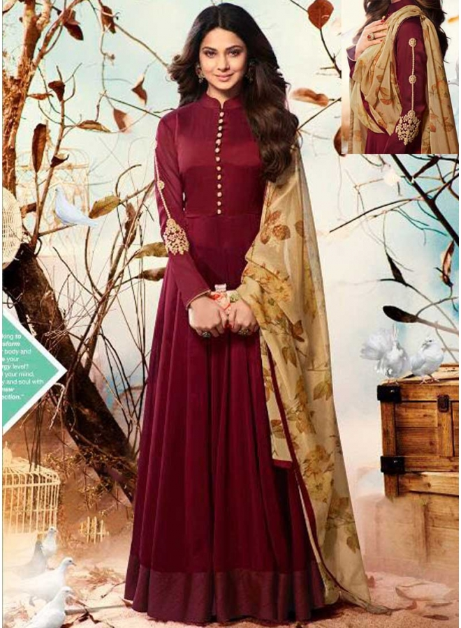 Jenifer Maroon Embroidery Carding Work Georgette Party Wear Anarkali Suit