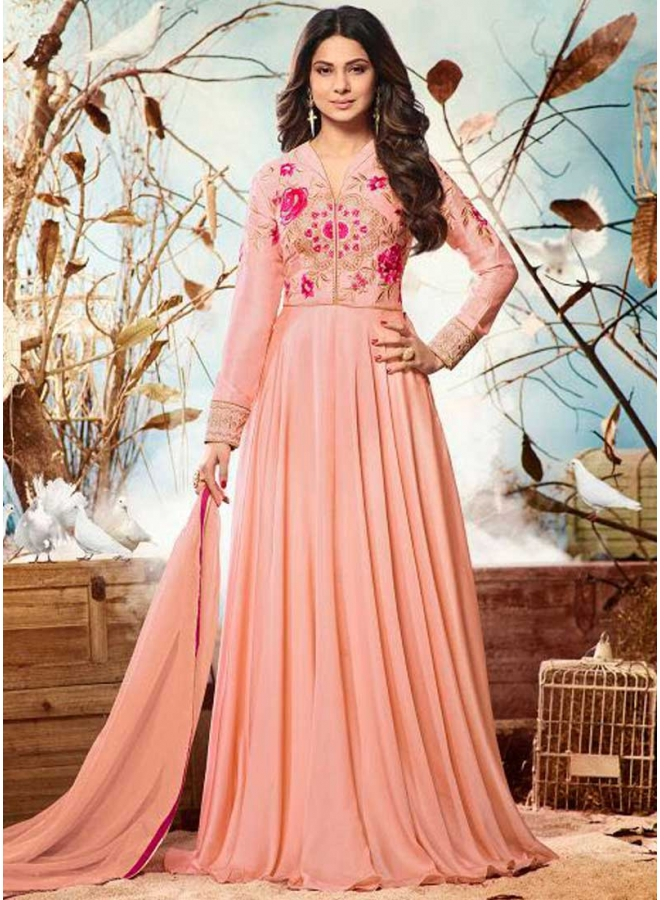 Jenifer Peach Embroidery Thread Work Silk Chiffon Wedding Wear Suit
