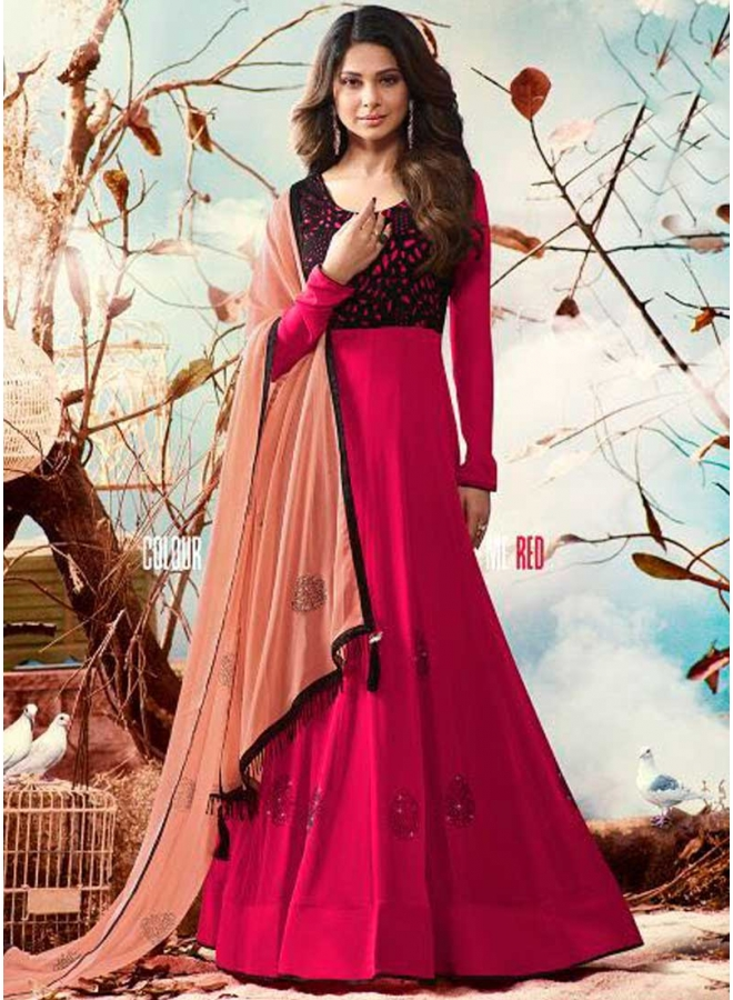 Jenifer Red Hand Embroidery Work Georgette Chiffon Wedding Wear Suit