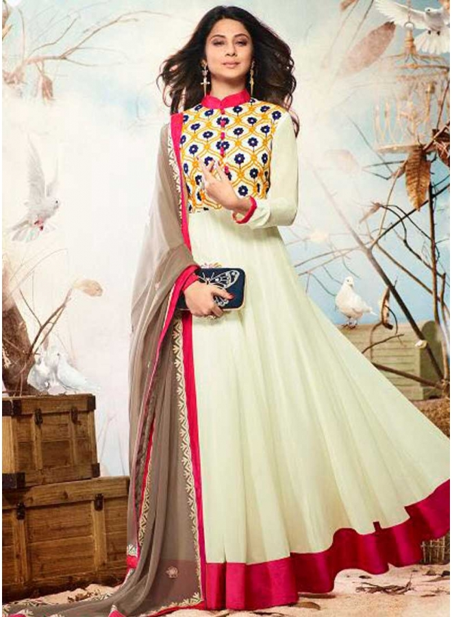 Jenifer White Georgette Resham Work Festival Wear Fancy Anarkali Suit