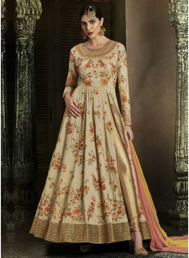 Beige Embroidery Boota Work Handloom Silk Wedding Anarkali Salwar Suit