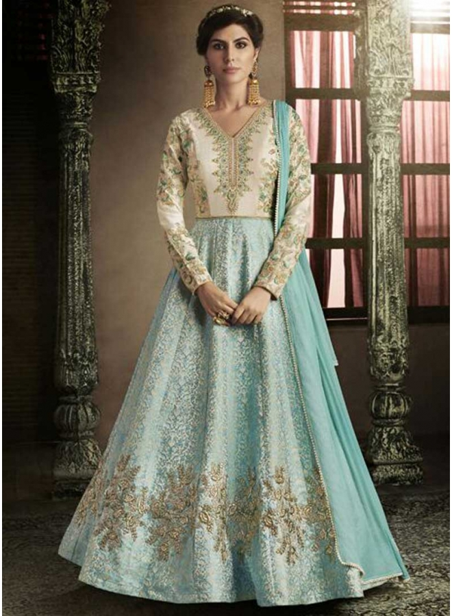 Firozi Hand Embroidery Zardoshi Work Lace Border Silk Party Wear Anarkali Suit