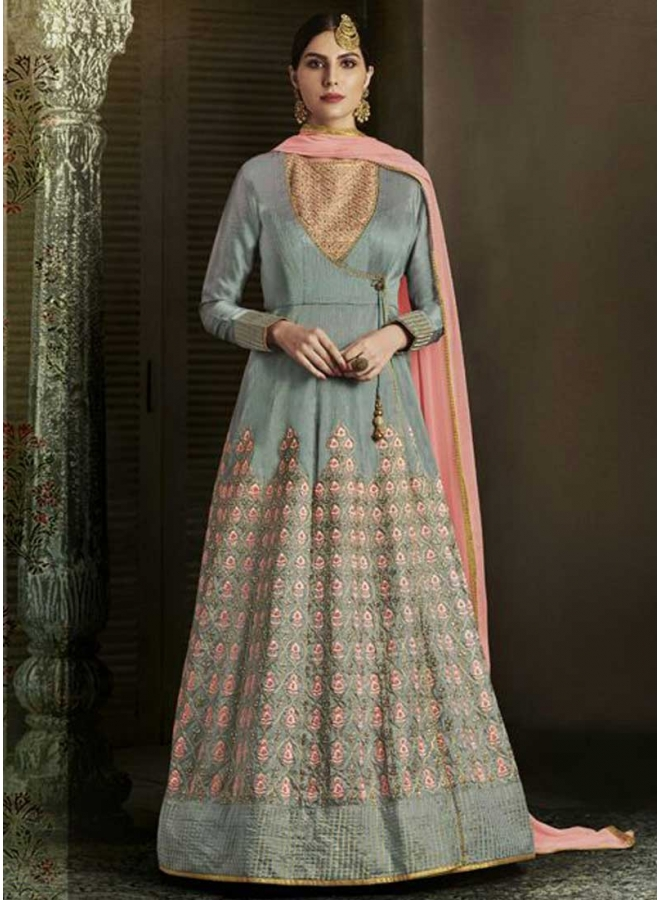 Grey Embroidery Resham Work Slub Silk Fabric Wedding Anarkali Suit