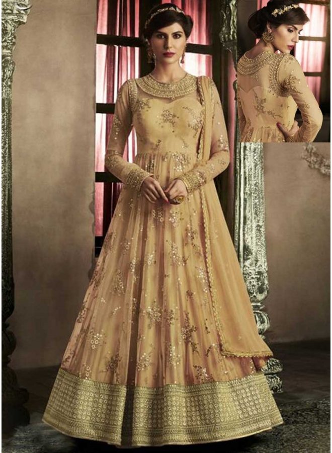 Light Orange Embroidery Zari Work Lace Border Net Party Wear Anarkali Suit
