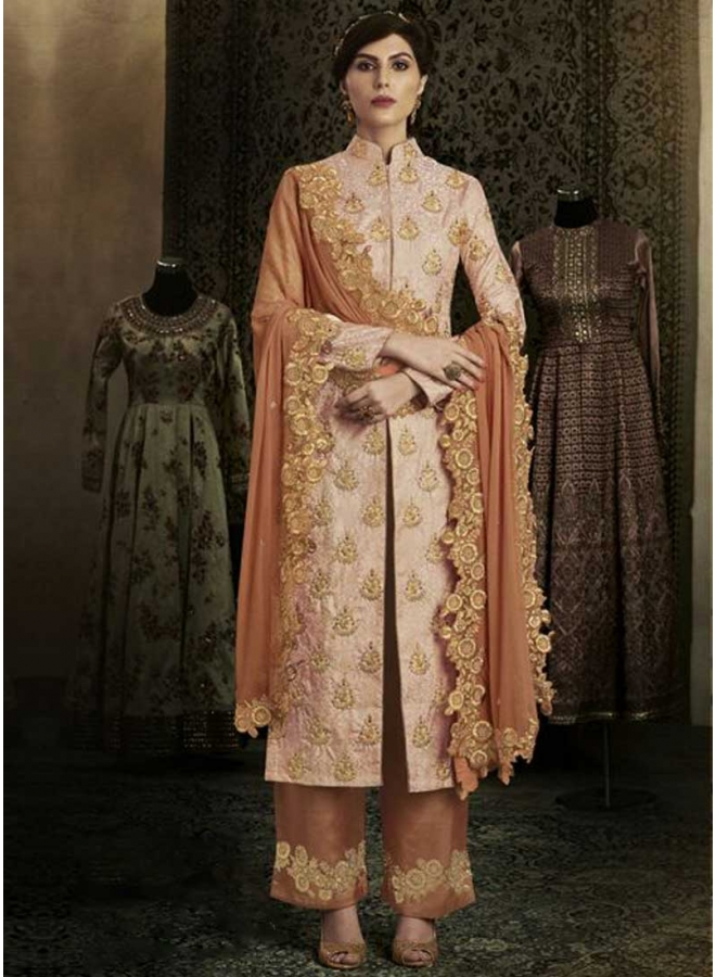 Peach Embroidery Zari Work Brocade Party Wear Pakistani Salwar Suit