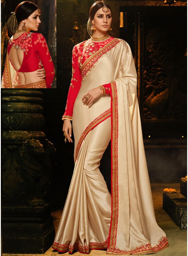 Cream Colour Embroidery Sequnes Work Barfi Silk Designer Party Wear Saree