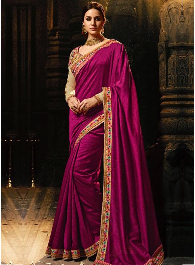 Beautiful Embroidery Sequnes Work Purple Colour Silk Fabric Designer Party Wear Saree