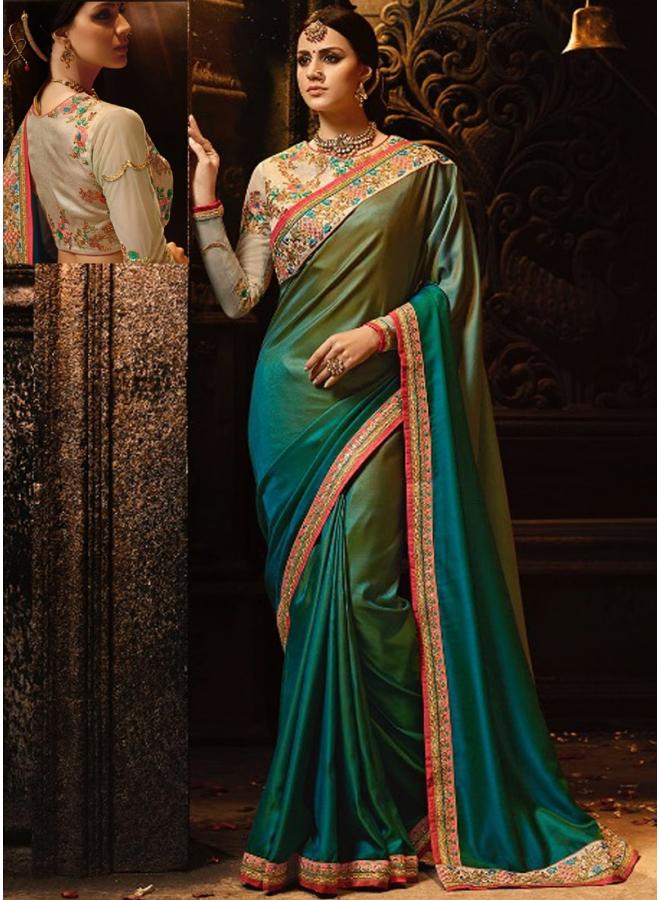 Beautiful Embroidery Sequnes Work Sea Green Colour Silk Designer Party Wear Saree