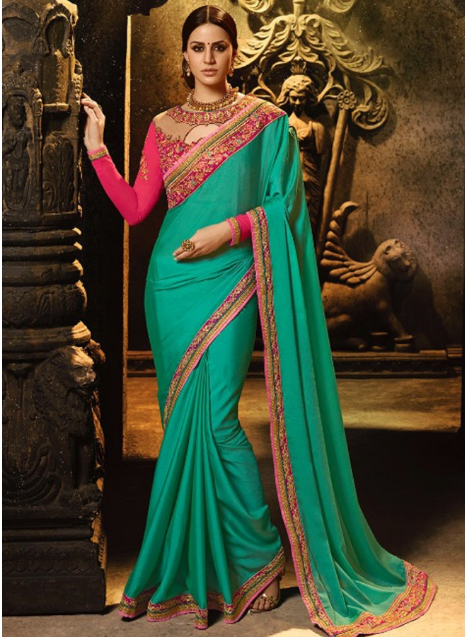 Beautiful Rama Colour Embroidery Sequnes Work Silk Fabric Designer Party Wear Saree