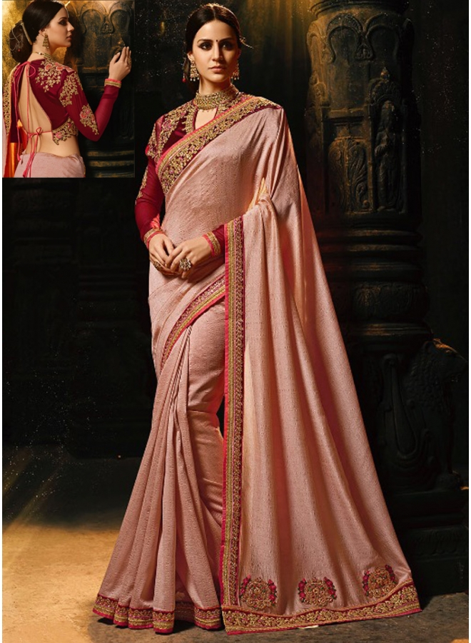 Dusty Light Brown Embroidery Sequnes Work Silk Fabric Designer Party Wear Saree