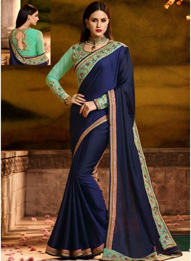 Navy Blue Embroidery Sequnes Work Barfi Silk Designer Function Wear Saree