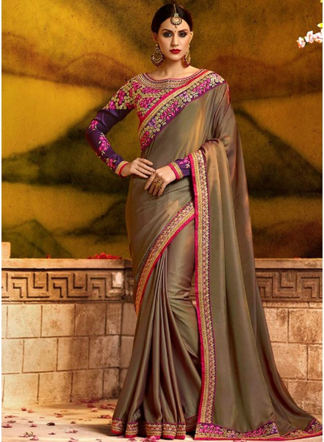 Wine Embroidery Sequnes Work Banarasi Silk Designer Party Wear Saree