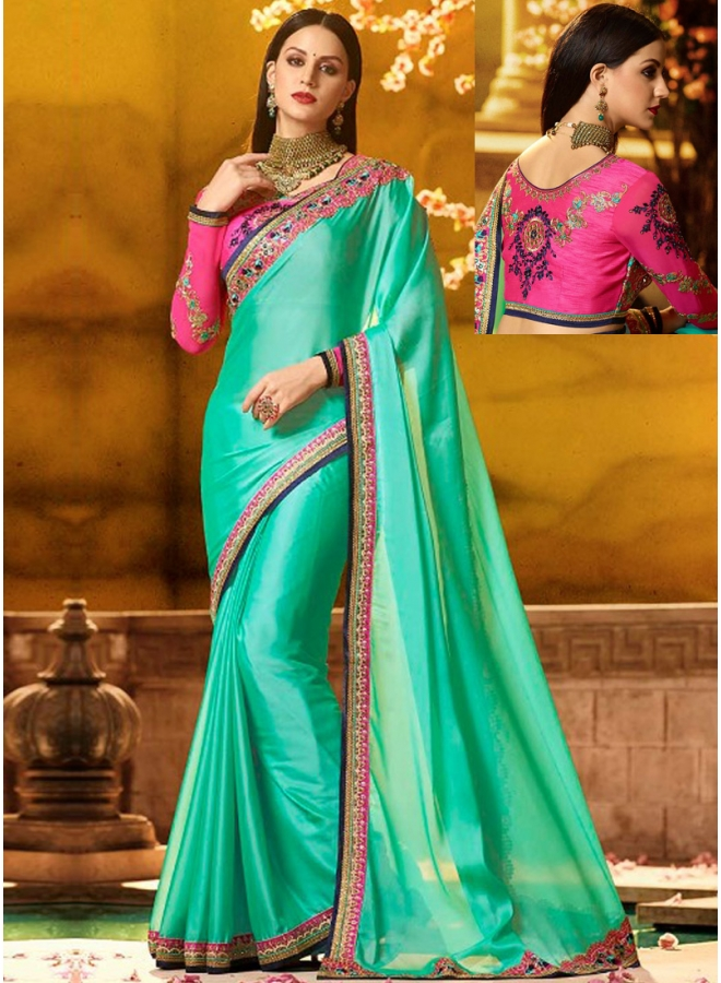 Sea Green Embroidery Sequnes Work Rangoli Silk Designer Party Wear Saree