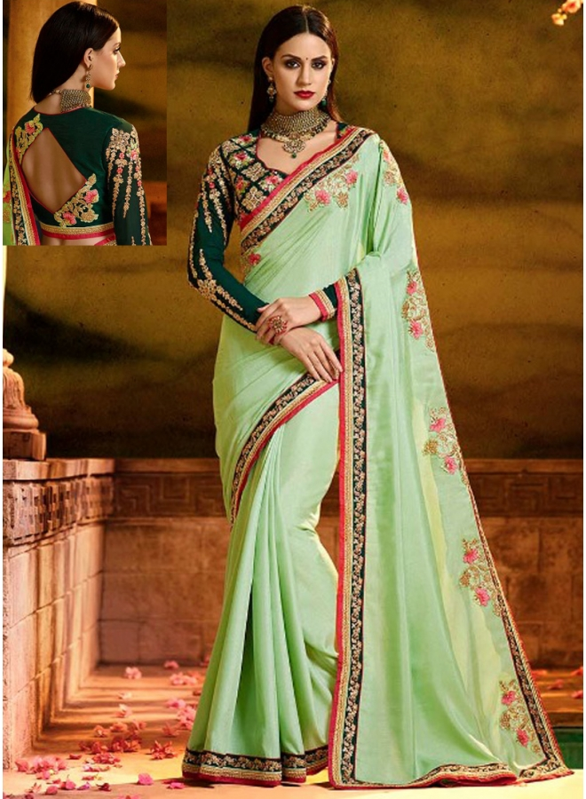 Pista Embroidery Sequnes Work Rangoli Silk Fabric Designer Party Wear Saree