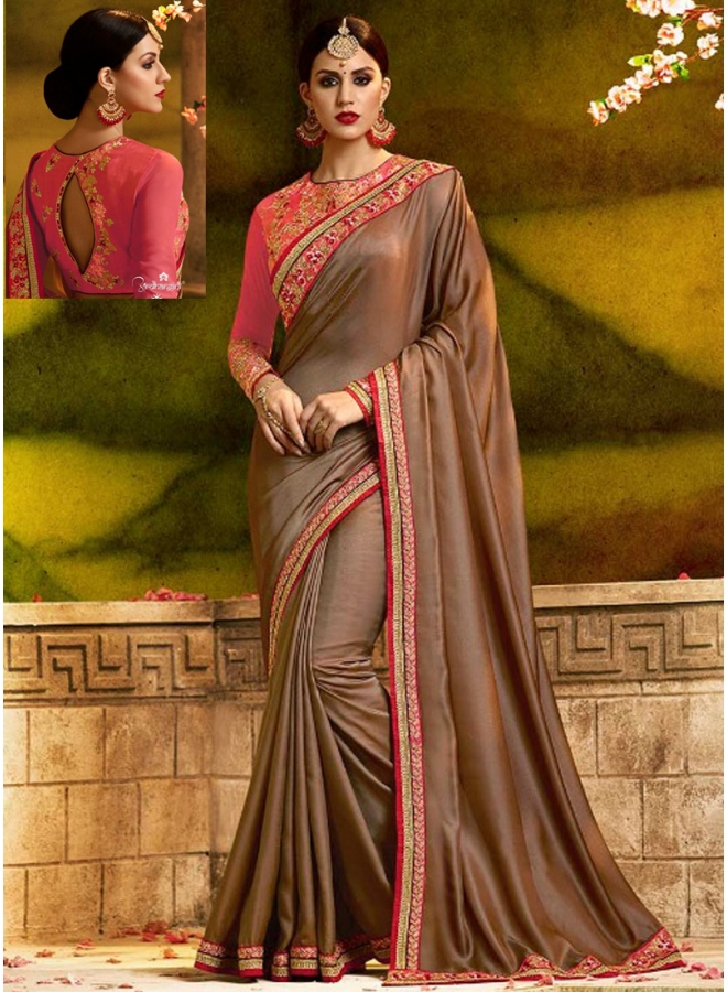 Brown Embroidery Sequnes And Zari Work Silk Designer Party Wear Saree