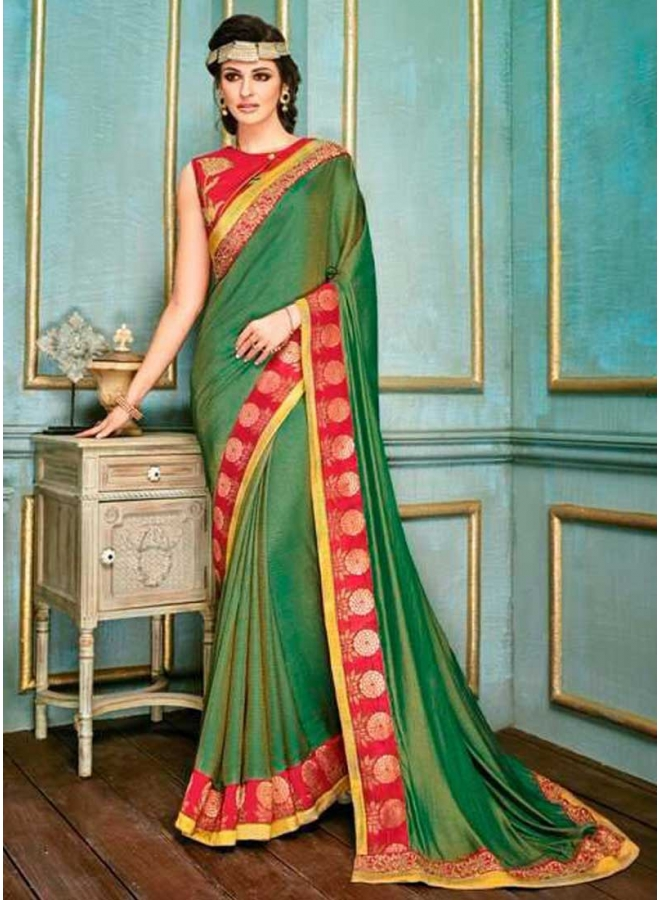 Sea Green Embroidery Work Jacquard Fabric Designer Party Wear Saree