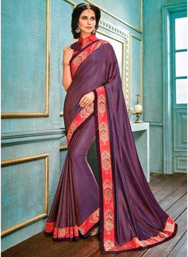 Red Purple Embroidery Work Silk Fabric Designer Function Wear Saree