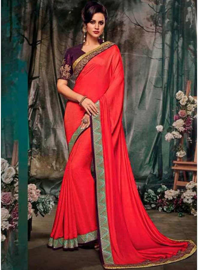 Red Dark Purple Embroidery Work Jacquard Fancy Fabric Designer Saree