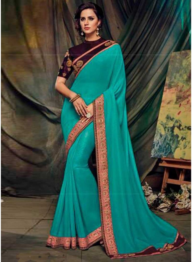 Turquoise Wine Embroidery Work Georgette Fabric Designer Party Wear Saree