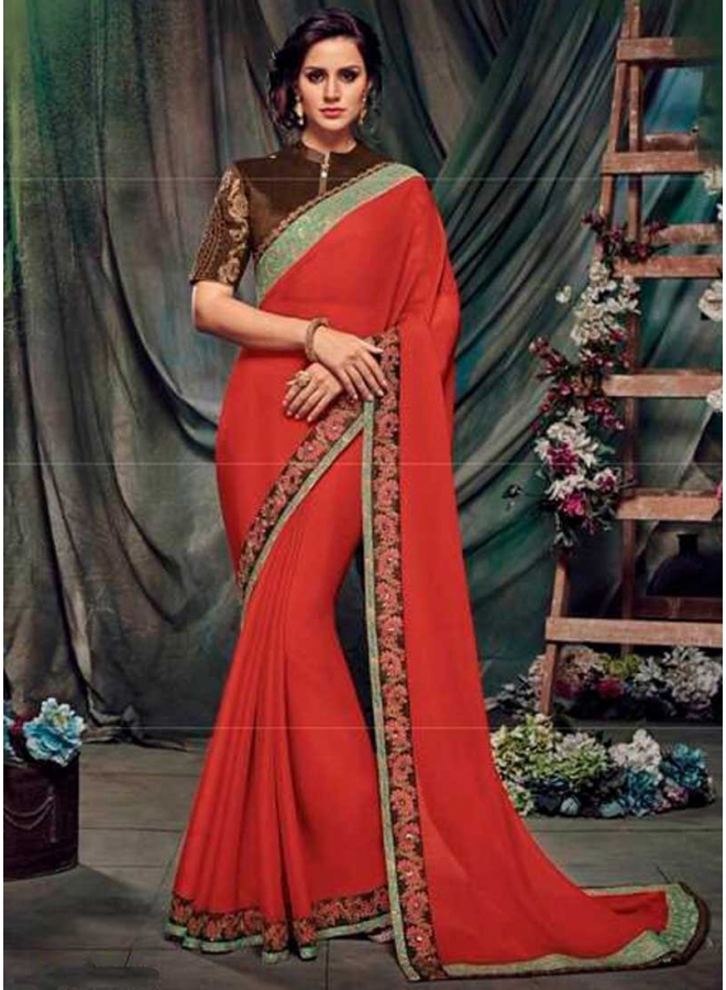 Tomato Red Embroidery Work Chiffon Fabric Designer Function Wear Saree